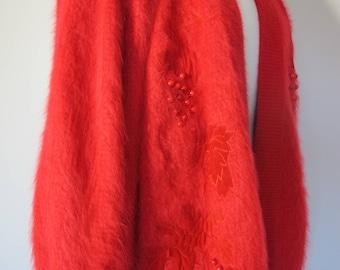 BOLD Vintage 80s ANGORA Applique Beaded Softest Knit Red Cardigan Sweater Jacket