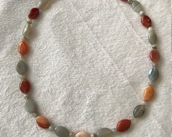 19 inch Orange and Gray necklace