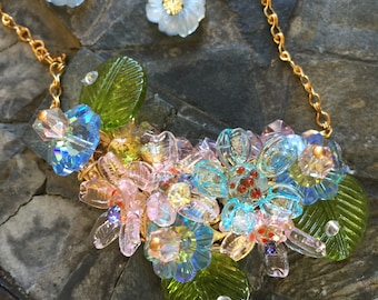 SALE! Glass flower necklace and matching earrings; a sparkling spring bouquet!