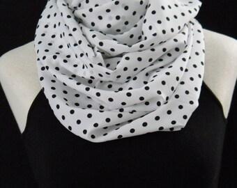 The White & Black Polka Dot Infinity Scarf - Lightweight Chunky Infinity Scarf - White and Black Polka Dots