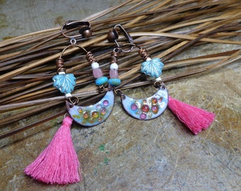 Earrings Bohemian copper enameled, pink and blue hippie earrings, earrings boho chic, spring earrings, Czech glass.