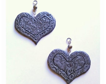 Filigree Hearts..Bling Charm Ornaments.. Set of Two 2 3/4 x 2 1/2""