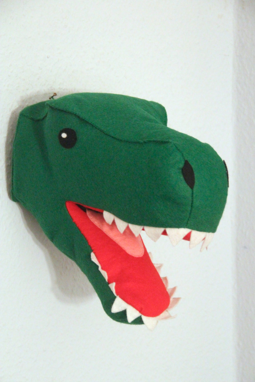 Filz Dinosaurier Kopf T-Rex Kopf Wanddeko Kinderzimmer Trophäe