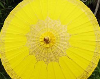 Hand Painted Yellow Waterproof Parasol, Yellow Umbrella, Boho Parasol, Umbrella, Parasols, Umbrellas, Wedding Parasol, Waterproof Parasol