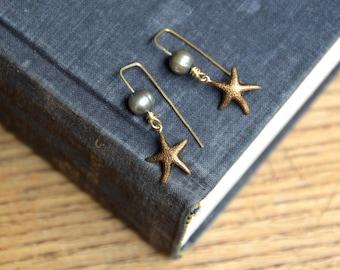 Brass starfish and freshwater pearl earrings. Ocean, sea jewelry