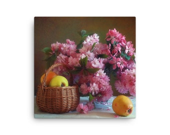 Still Life With Sakura Bouquet And Yellow Apples Painting Canvas Special