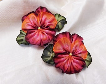 Pair Of Pansies With Leaves Ribbon Flowers Ribbonwork