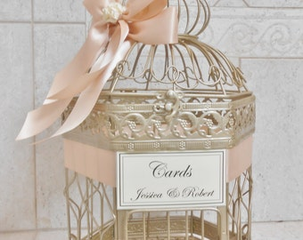 Champagne Gold Wedding Birdcage Card Holder | Wedding Card Box | Birdcage Card Holder | Wedding Decor | Blush Wedding