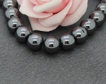 x 15 PG172 10 mm black hematite round beads