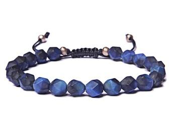 Bead Bracelet Men - Matte Blue Tiger Eye Beaded Bracelet for Men - Adjustable bracelet - Men's Jewelry - Men's Bracelets - For Man - For Him