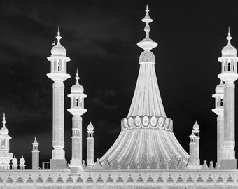 Architecture Print - Brighton Royal Pavilion Negative Black and White Photograph - English Architecture - Abstract Brighton