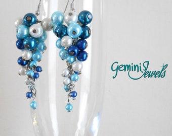 Sky Blue Beads Cluster Earrings