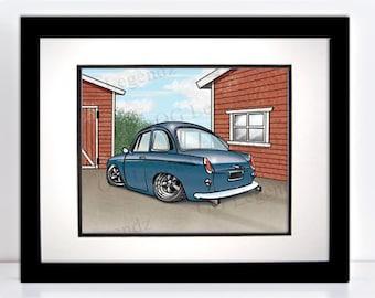 VW Notchback, Art Print - An Original EXCLUSIVE Volkswagen Design by Og Legendz... Type 3 Volkswagen - VW Enthusiast - Slammed