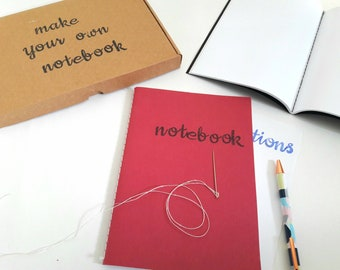 Make your own A5 notebook with your name on the cover, older kids' craft kit, hand-bound notebook, 80 blank pages