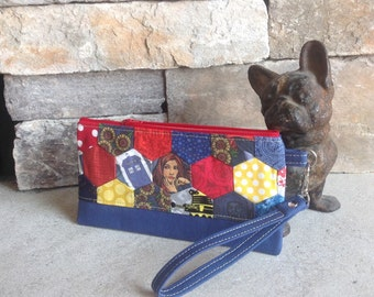 Doctor Who and Amy Pond inspired hexagon quilted zipper pouch - ready to ship
