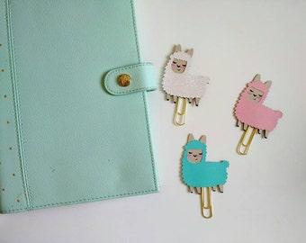 Alpaca Planner Clip, Llama Bookmark, paper clip FiloFax Erin Condren Day Planner Kikki K Inkwell Press Happy Planner bookmark, Fluffy alpaca