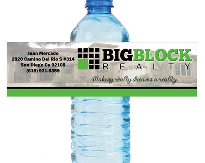 "Featured listing image: 500 Custom Water Bottle Labels for your Shop or Business Real Estate Car Dealer Store Event 8""x2"""