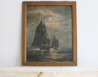 Antique Original Water Color Painting, Framed Ships, Boats, Maritime, Water, Signed E L Snyder, 1910