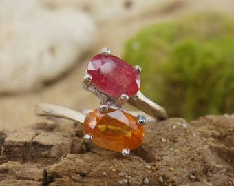 Ruby & Sapphire Ring. September Birthstone. Engagement Ring with natural Yellow Sapphire and Bright Ruby. Present for her. Gift Idea