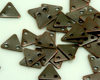 200 pcs 7x8 mm antique copper triangle tag Charms with 2 hole  ,Findings 619ACD-22