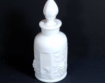 Vintage MILK GLASS BOTTLE  Westmoreland White Milk Glass Paneled Grape Cruet Mid Century Bath Oil Bottle