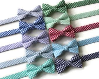 Boys Gingham Bow Tie~Boys Bow Tie~Mint Bow Tie~Red Bow Tie~Fog Bow Tie~Gray Bow Tie~Cotton~Gingham~Jade Tie~Seafoam~Yellow~Wedding Tie