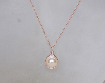 Rose Gold Cream Pearl Necklace , June Birthstone Necklace , Swarovski Cream Pearl Necklace