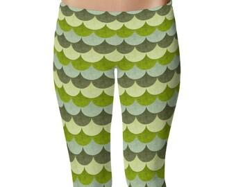 Green Dragon Scales Leggings, Dragon Skin, Mermaid Leggings, Stretchy Grunge Yoga Pants