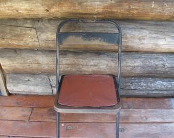 Vintage Samsonite Folding Metal Chair Industrial Metal Fold Up Chair Black Metal Mid Century Portable Chair Folding Metal Chair Office
