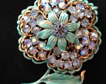 Rhinestone Flower Brooch / Pin