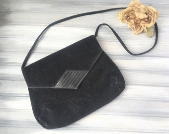 Vintage Black Velvet Purse / Vintage Black Purse / Vintage Velvet Purse / Black Velvet Purse / Black Velvet Handbag
