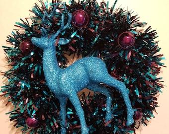 Blue Stag Christmas Wreath