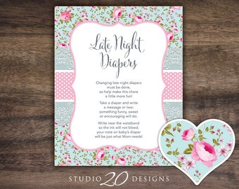 Instant Download Shabby Chic Late Night Diapers, 8x10 Floral Diaper Thoughts, Blue Pink Victorian Baby Shower Decorate Diaper Activity #89A