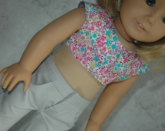 american, made, girl, doll, fits, 18 inch doll, crop, top, shirt