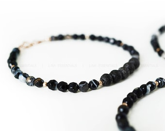 Rose Gold Black Agate & Lava Bead Essential Oil Diffuser Bracelet - Dainty Rose Gold Bracelet