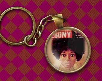 Diana Ross Ebony Magazine Cover Pin, Magnet, Keychain, or Necklace
