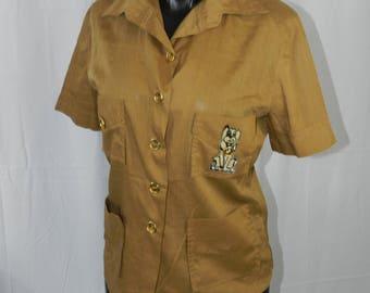 Vintage Retro Puppy Dog Hound Shirt - Medium