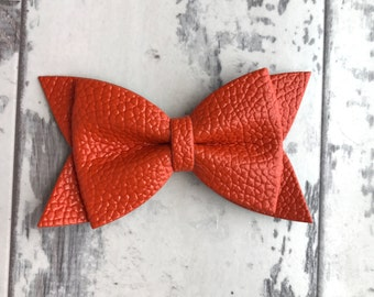 Burnt Orange  Daphne faux leather bow, faux leather bow, newborn starter set,baby bow, non marking, newborn bow, baby headband, leather bow,
