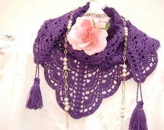 Ethno-chic style lace scarf handmade in purple cotton crochet with tassels. Women's fashion summer Crochet. Ethnic shawl