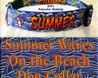Polyester Webbing Summer Beach Umbrella Ball and Pail On Sandy Ocean Waves Background Designer Novelty Dog Collar