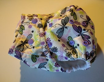 SassyCloth one size pocket cloth diaper with dragonflies PUL print. Ready to ship.