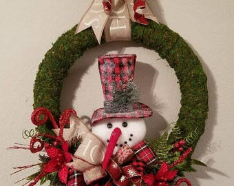 Christmas Snowman Wreath, Moss Holiday Wreath, Christmas Door Wreath, Christmas Wall Wreath