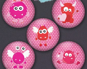Set of 5 Cute Monster Pin-back Button Badges or Ponytail Holder Charms Set of 5