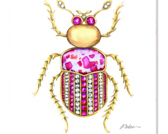 Bug Brooch Watercolor Rendering in Yellow Gold with Diamonds, Pink Sapphire and Jasper printed on Canvas
