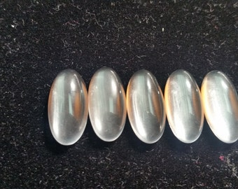 10x20MM Clear Quartz Smooth Oval Cabs, Pack of 5 Pc.