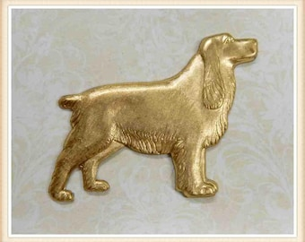1 pc raw brass spaniel dog charm stamping finding #2704