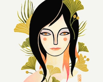Vera - Fine Art Print 8x10 - Girl - Portrait - Wall Art - Gingko - Home Decor - BFF - Gift - Sisters - Botanical - Feminine -