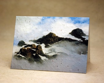 Seed Paper Cascade Mountain Print Recycled Cotton Blank Notecard Set - Northwest Photography
