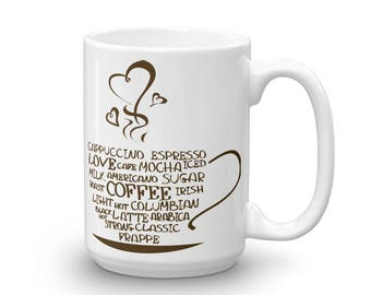 Mug made in the USA, Funny mug, Cappuccino, Cafe Latte, Mocha, Espresso Coffee Cup, Mug, Drinkware, Gift for her, Coffee Mug, Funny coffee
