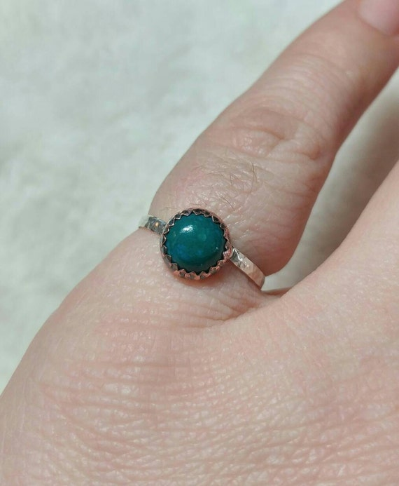 Rustic Stone Ring | Chrysocolla Ring | Mixed Metal Ring | Sterling Silver Ring Sz 6.5 | Copper Ring | Tribal Rings for Women | Boho Ring